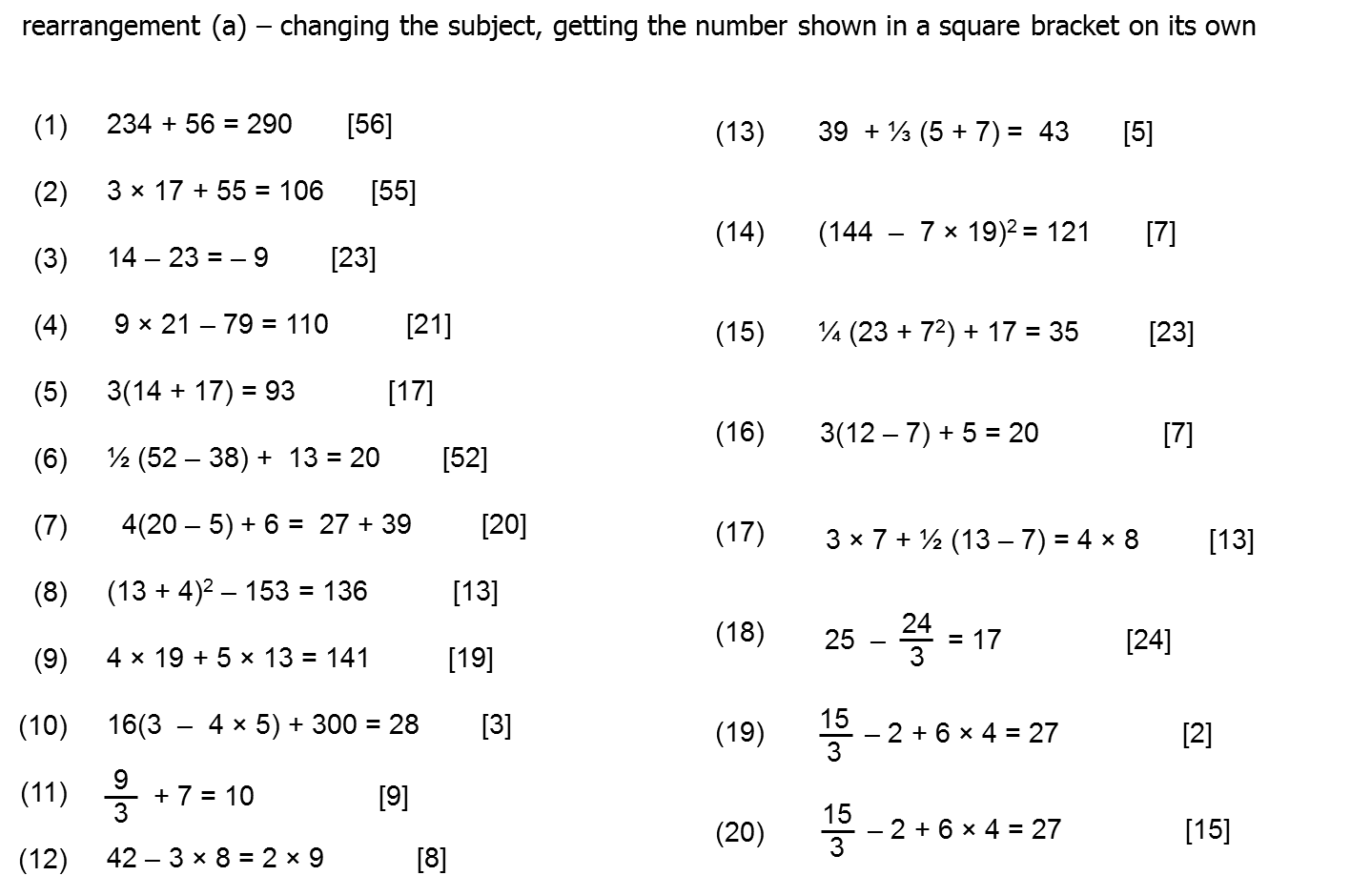 worksheet Rearranging question of the week 4 rearranging formula mr barton maths blog i would hope that if formulae was introduced this way then perhaps not as many students have misconceptions r