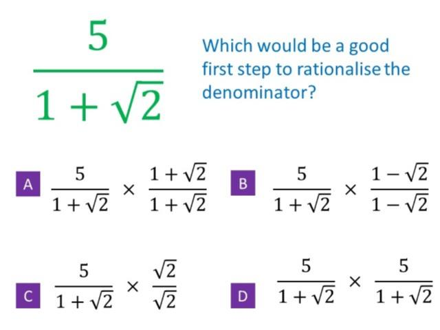 Rationalise the Denominator – Guess the Misconception