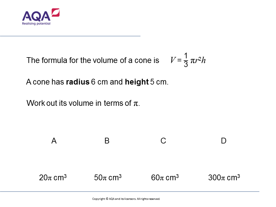 Volume Of A Cone Gcse Maths Question The Week Foundationhigher. Worksheet. Volume Worksheet Gcse At Mspartners.co