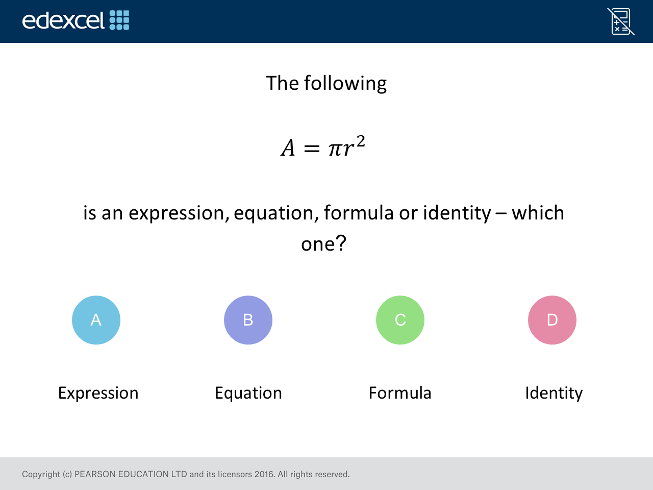 Expression, Equation, Formula, Identity: GCSE Maths Question of the Week (Foundation/Higher)