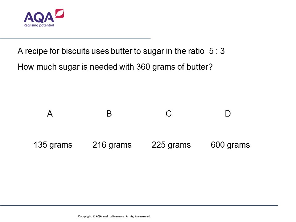 Ratio In Recipes Foundationhigher Gcse Maths Question Of The